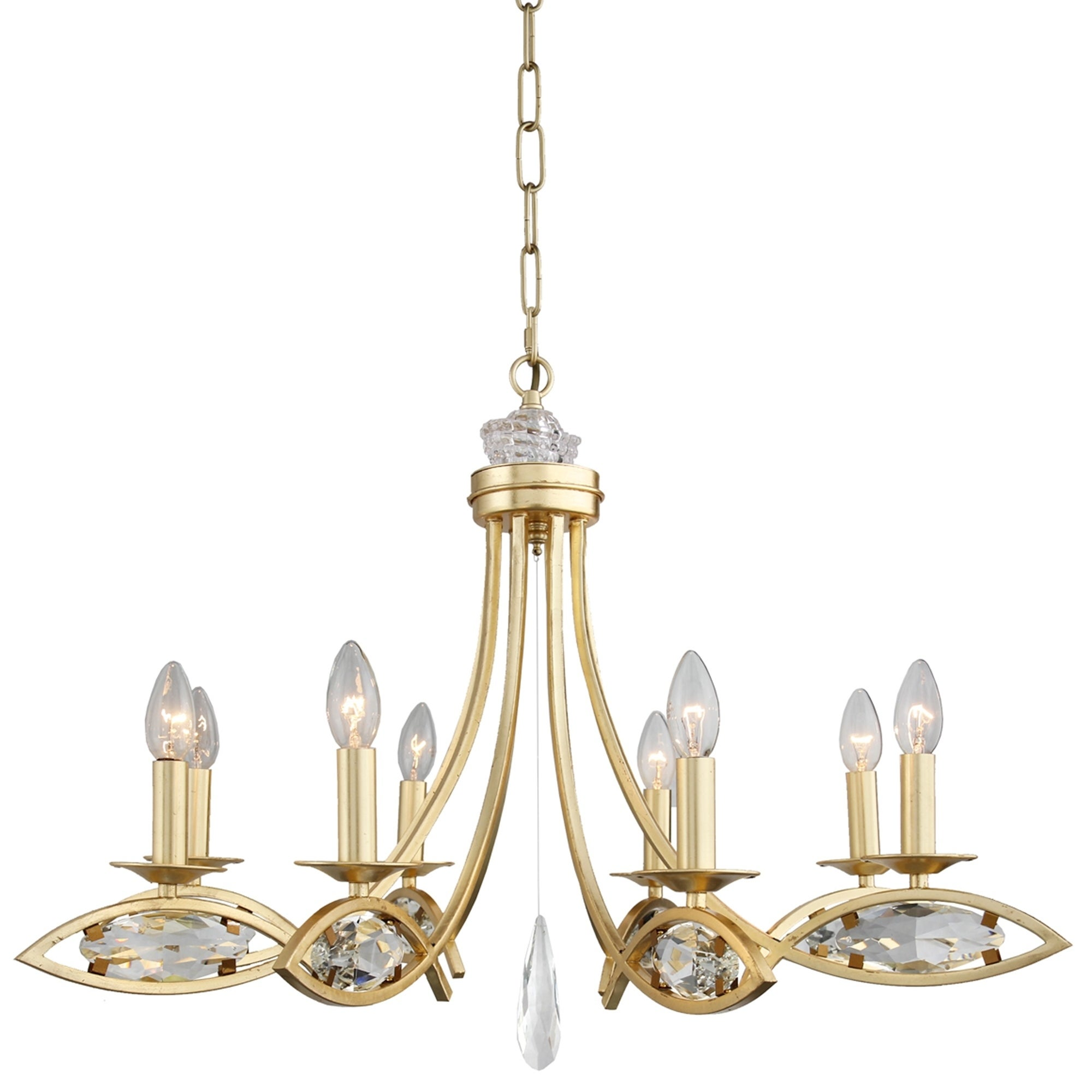 8 Light Candle Style Chandelier In Gold Finish And Clear Crystals Overstock 30580731