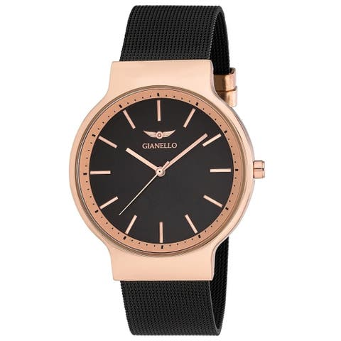 4 Colors Available- Gianello Mens Sleek Round All Mesh Watch