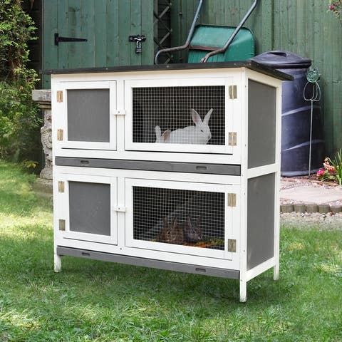 PawHut Solid Wood Rabbit/Bunny Hutch with 2 Large Main Rooms, Protection from UV Rays and Water, and Firm Cage, Grey