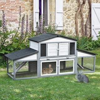 PawHut Wooden Rabbit Hutch with Outdoor Run Area, Waterproof Roof, and Big Living Space Perfect for Bunny/Small Animals