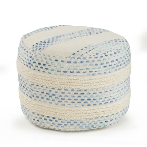 Blue and Cream Tufted Pin Dot Pouf