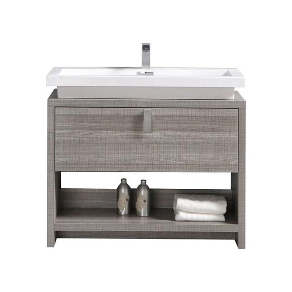 "Levi 40"" Ash Gray Modern Bathroom Vanity w/ Cubby Hole"