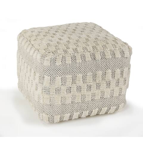 Cream Tufted Checkered Geometric Pouf