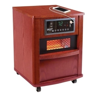 Comfort Zone CZ2032C Infrared Quartz Cabinet Heater with Remote Control and Adjustable Thermostat, Cherry Finish