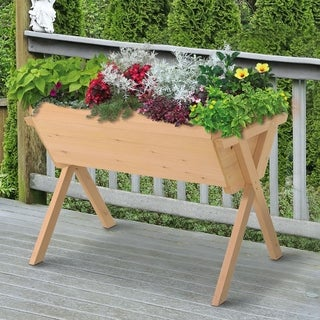 Outsunny Raised Garden Planter Bed with Solid Wood Construction and Bag, Perfect Flower Box for Growing Herbs & Plants