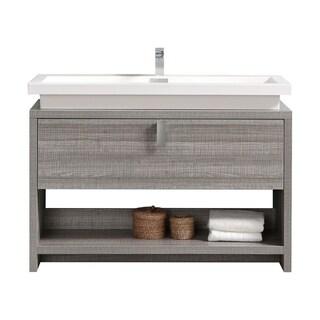 "Levi 48"" Ash Gray Modern Bathroom Vanity w/ Cubby Hole"