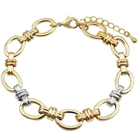 "Luxiro Tri-color Finish Women's Open Oval Link Bracelet, 7.5"" + 1"""