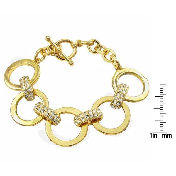 Luxiro Crystal Bars Open Link Bracelet