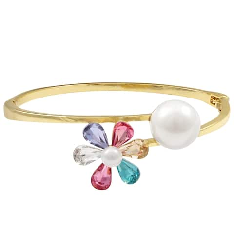 Luxiro Gold Finish Multi Color Crystals Flower with Pearls Bangle, 50mm