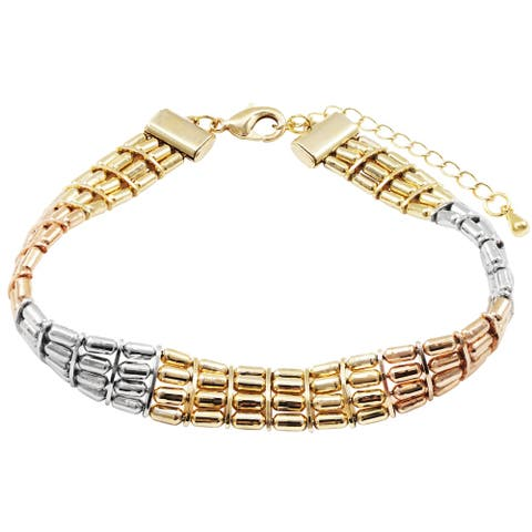 "Luxiro Tri-color Finish Womens Bars Bracelet, 7"" + 2"""