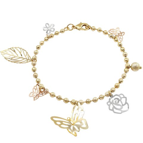 Luxiro Tri-color finish Butterfly, Leaf and Flower Charms Laser Balls Bracelet, 7''