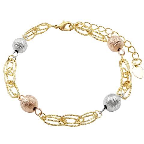 Luxiro Tri-color Finish Etched Balls Chain Bracelet, 8'' + 1.5''