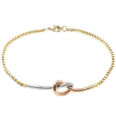 """Luxiro Tri-color Finish Knot Bar Box Chain Bracelet, 8"""""""