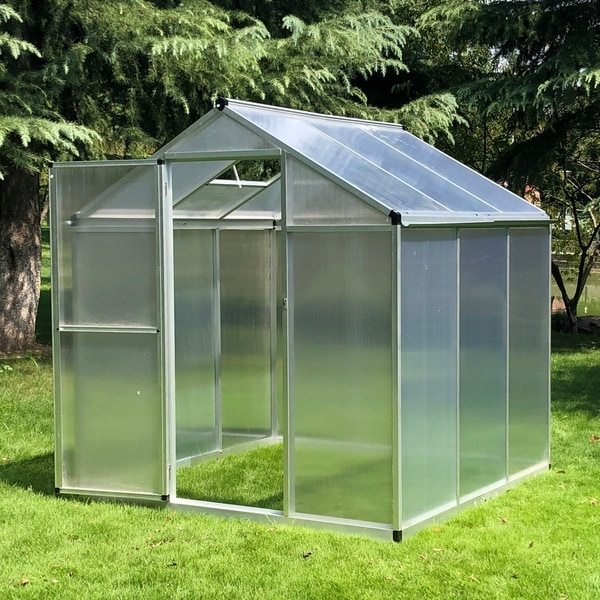 Outsunny Stable Outdoor Walk-In Garden Greenhouse with Roof Vent and Rain Gutter for Plants, Herbs, and Vegetables