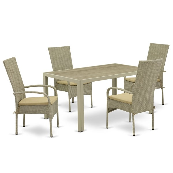 Rectangle Medium Patio Table and Outdoor Chairs with Natural Color PE Wicker (Number of Chairs Option)