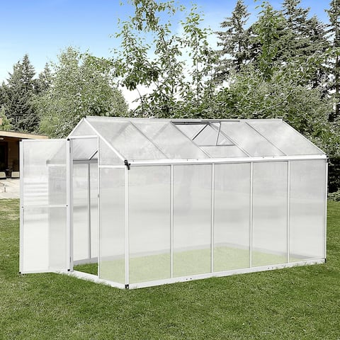 Outsunny Stable Outdoor Walk-In Garden Greenhouse with Roof Vent for Plants, Herbs, & Vegetables, 10' L x 6' W