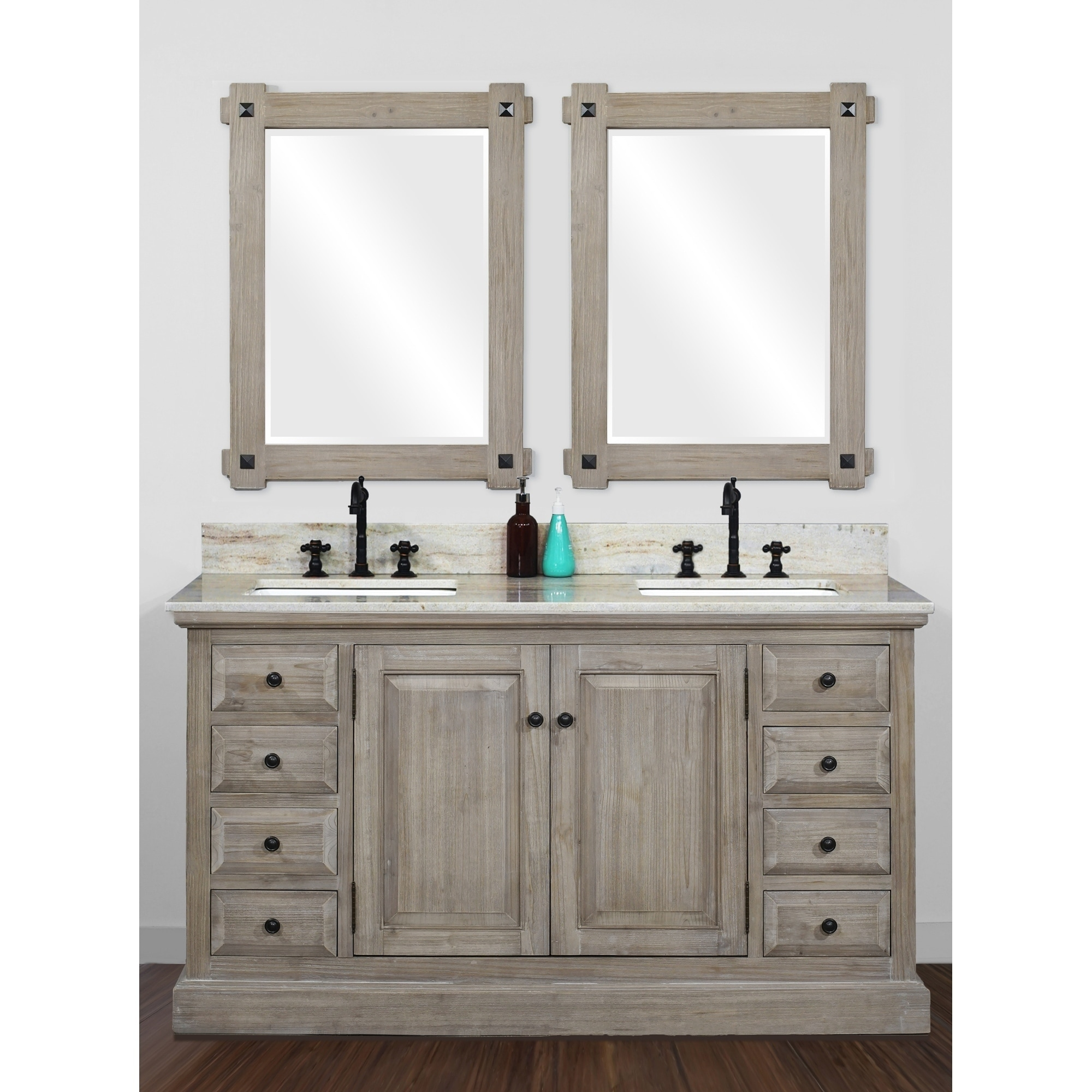 Shop Rustic Style 60 Inch Double Sink Bathroom Vanity With Coastal Sand Marble Top No Faucet Overstock 30581124