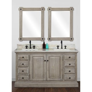 Rustic Style 60 inch Double Sink Bathroom Vanity with Coastal Sand Marble Top-No Faucet