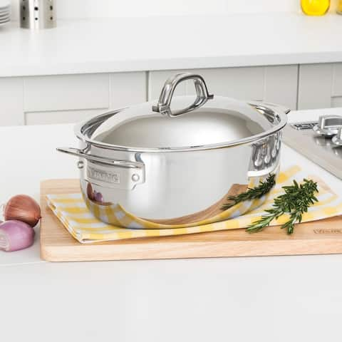 Viking 3-Ply 5.5 Qt Oval Casserole/Dutch Oven, Stainless Steel, Mirror Finish