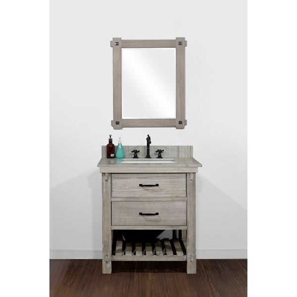 Infurniture Rustic-style 30-inch Single-sink Bathroom Vanity with Coastal Sand Marble Top- No Faucet