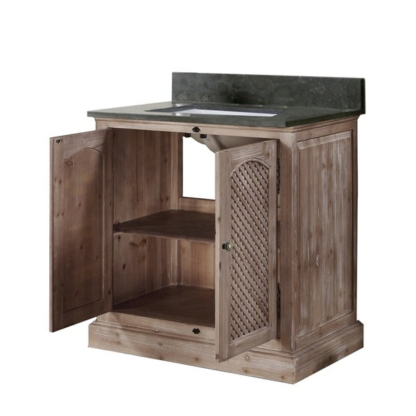 """31""""Rustic Solid Fir Single Sink Vanity with Marble Top-No Faucet"""