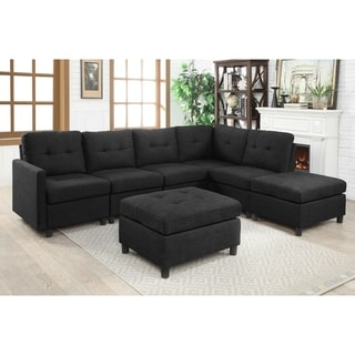 7 Piece Modular Chaise Sectional with Ottoman