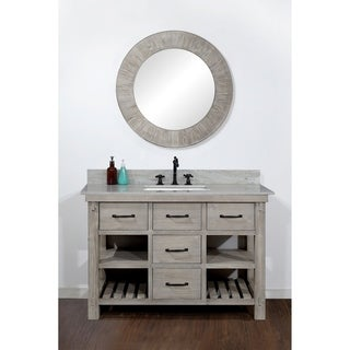 Infurniture Rustic-style 48-inch Single-sink Bathroom Vanity with Coastal Sand Marble Top- No Faucet