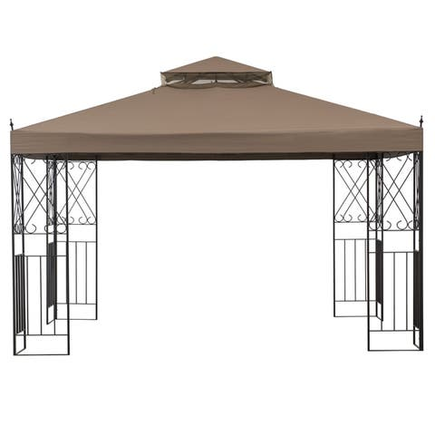Sunjoy 12 ft. x 12 ft. Steel Gazebo with Khaki Canopy