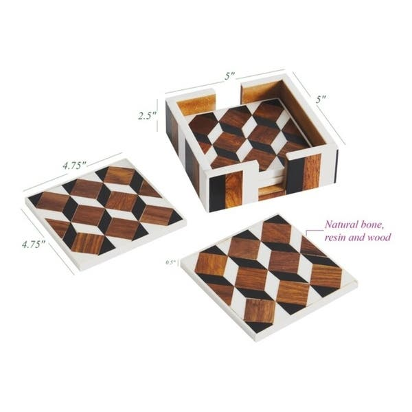 6 Piece Coaster Set With Holder Overstock 30583738