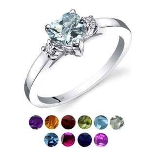 Link to 14K White Gold Gemstone and Diamond Heart Ring Similar Items in Rings