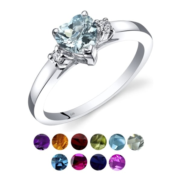 14K White Gold Gemstone and Diamond Heart Ring. Opens flyout.