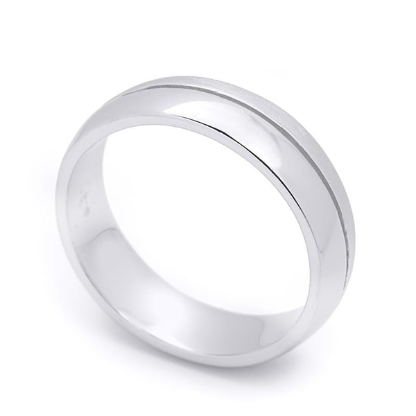 Solid 925 Sterling Silver 6mm Bevel Edge Wedding Band