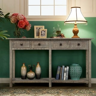 Rustic Brushed Texture Entryway Table Console Table with Drawer and Bottom Shelf for Living Room
