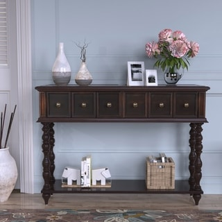 Rustic Console Sofa Table Antique-inspired Design with two Exquisite Drawers and Bottom Shelf for Living Room