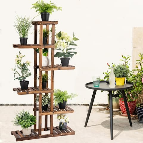 Kaivu 6-tier Wooden Potted Plant Display Shelves by Havenside Home