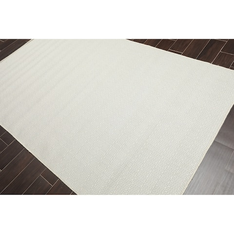 Hand Woven Wool Contemporary Flatweave Area Rug (5'x8') - 5' x 8'
