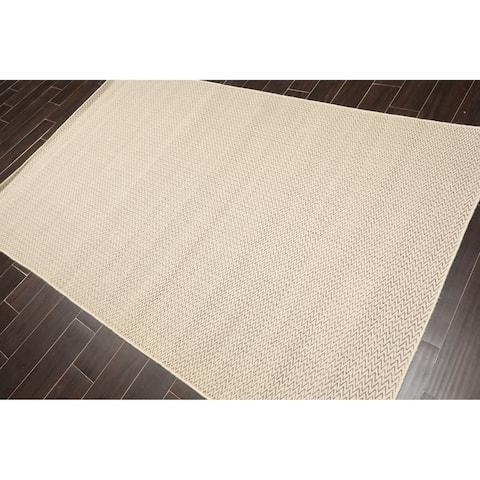 Herringbone Hand Woven Wool Flatweave Oriental Area Rug (5'x8') - 5' x 8'