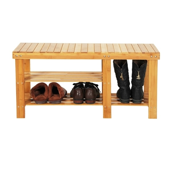 90cm Strip Pattern Tiers Bamboo Stool Shoe Rack Wood Color