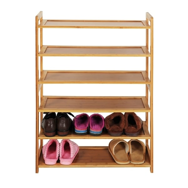 Home Concise Rectangle 6 Tiers Simple Bamboo Shoe Rack Wood Color