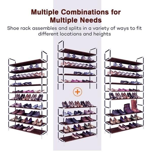Large Capacity 10 Layers Non-woven Fabrics & Steel Shoe Rack