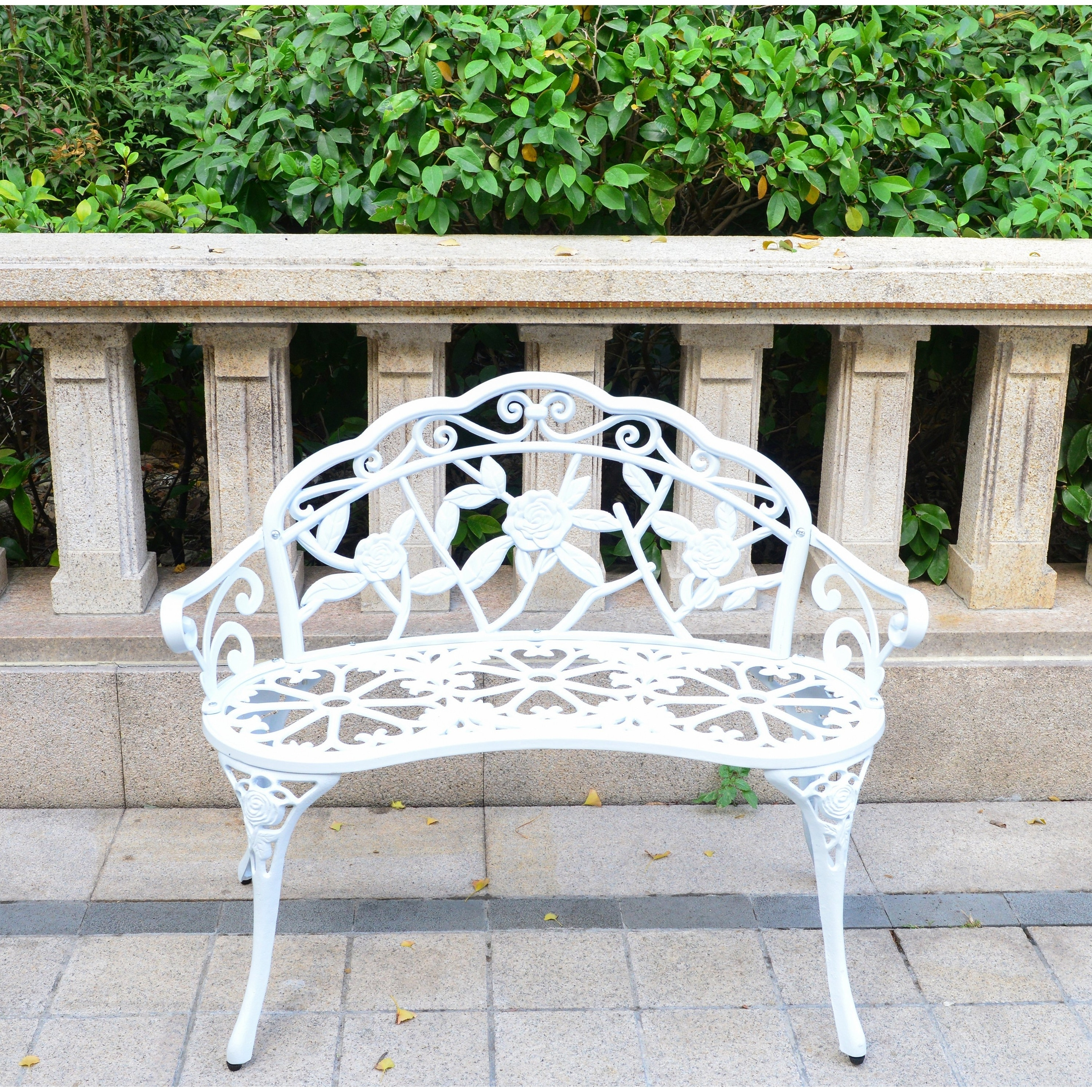 Outdoor Bench Front Porch Benches Garden Metal Loveseat Patio Furniture  white
