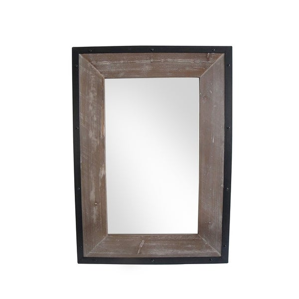 Transitional Mirror with Wooden Framing and Metal Outline, Black & Brown