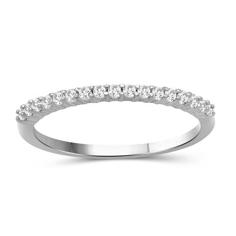 JewelonFire Genuine White Diamond Half Eternity Band in Sterling Silver - Assorted Styles
