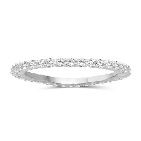JewelonFire Genuine White Diamond Eternity Band in Sterling Silver - Assorted Styles