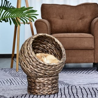 "Link to PawHut 20"" Natural Braided Banana Leaf Elevated Cat Bed Basket with Cushion, Grey Similar Items in Cat Beds & Blankets"