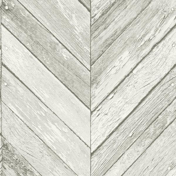 Shop Transform Light Grey Herringbone Wood Peel And Stick Wallpaper Overstock 30584876
