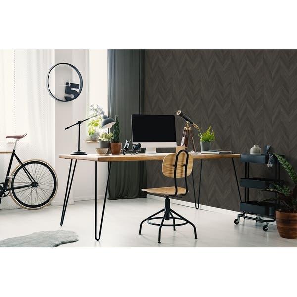 Shop Transform Dark Grey Herringbone Wood Peel And Stick Wallpaper Overstock 30584886