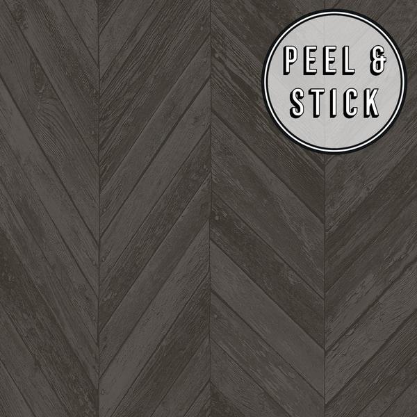 Transform Dark Grey Herringbone Wood Peel And Stick Wallpaper Overstock 30584886