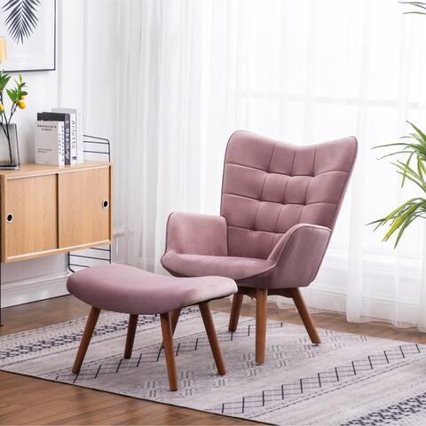 Leiria Contemporary Silky Velvet Tufted Accent Chair with Ottoman