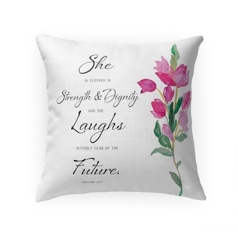 SHE IS CLOTHED in STRENGTH Throw Pillow by Terri Ellis